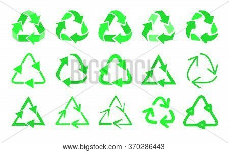 Recycling Symbols Flat Icon Set. Biodegradable Waste Logo, Reuse Arrow, Eco Mark Isolated Vector Ill