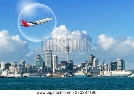 Travel Bubble Concept - Airplane Traveling In Bubble Representing International Travel Bubble Projec