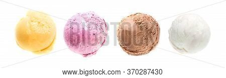 Ice Cream Set, Various  Ice Cream Scoops Isolated On White Background, Top View, Copy Space. Frozen