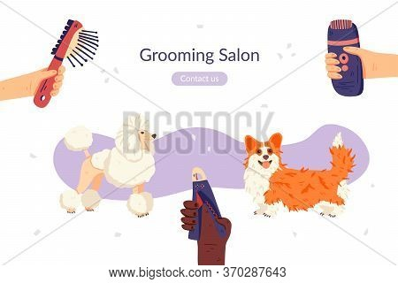 Grooming Salon Landing Page Template. Flat Corgi And Poodle Dog Breeds. Groomers Hands With Tools Ar