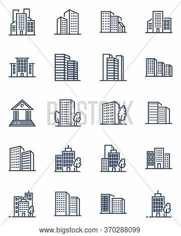 City Buildings Thin Line Icons Set. Outline Skyscrapers, Residential Apartments And Hotels Isolated