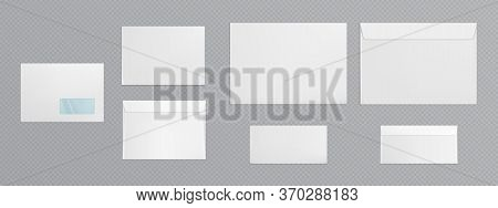 White Envelope Template. Vector Realistic Mockup Of Blank Closed Envelopes With Transparent Window,