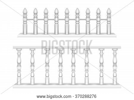 White Marble Balustrade, Handrail For Balcony, Porch Or Garden In Classic Roman Style. Vector Realis