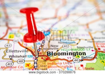 Bloomington, Indiana, Monroe Road Map With Red Pushpin, City In The United States Of America Usa.