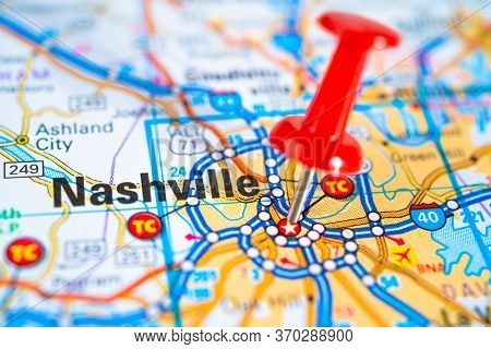 Nashville, Tennessee Road Map With Red Pushpin, City In The United States Of America Usa.