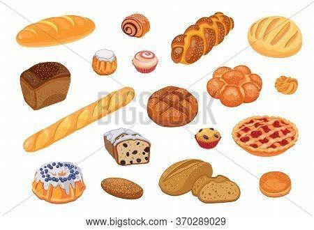 Bread Assortment Flat Icon Set. Cartoon Bun, Pretzel, Cakes, Baguette, Bagel, Whole Grain Bread Isol