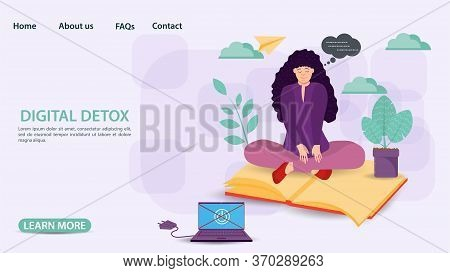 Digital Detoxification, Banner Concept For Web And Mobile Sites, Girl In The Lotus Position Sitting