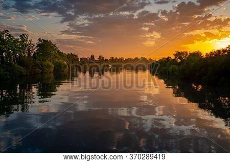 River Rioni In Poti In The Morning Sunrise, Landscape