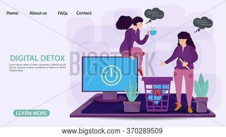 Digital Detoxification, Banner Concept For Web And Mobile Sites, Little People Two Women Get Rid Of