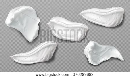 Foam Cream Swatches Isolated On Transparent Background. Vector Realistic Smears Set Of White Froth C