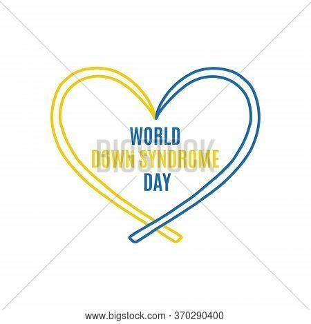 Yellow And Blue Ribbon, Symbol Of World Down Syndrome Day. The Ribbon Is Like A Heart. March 21th. V