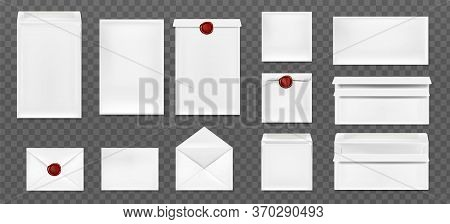 White Envelopes With Red Wax Seal. Vector Realistic Mockup Of Blank Closed And Open Envelopes, Lette