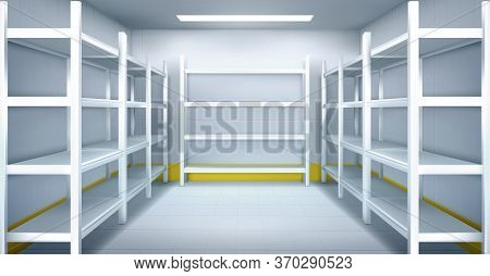 Cold Room In Warehouse With Empty Metal Racks. Vector Cartoon Interior Of Industrial Storage Freezer