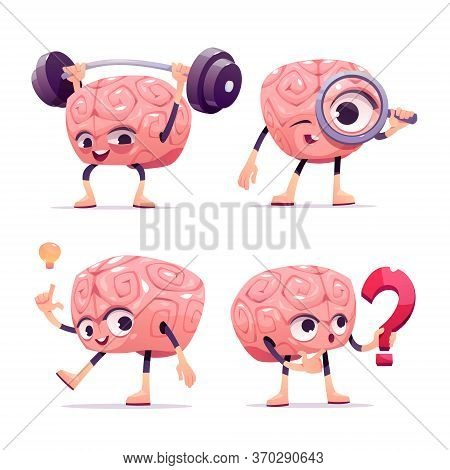 Brain Characters, Cute Cartoon Mascot With Funny Face Exercising With Barbell, Look In Loupe, Have G