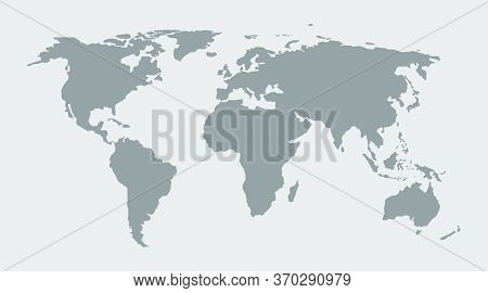 World Map. Grey Earth On Globe. Global Background With Europe, Asia, Africa, America, Australia. Atl