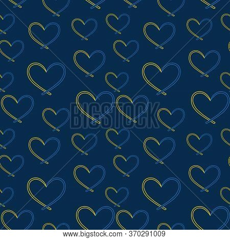 Yellow And Blue Ribbon, Symbol Of World Down Syndrome Day. The Ribbon Is Like A Heart, Seamless Patt