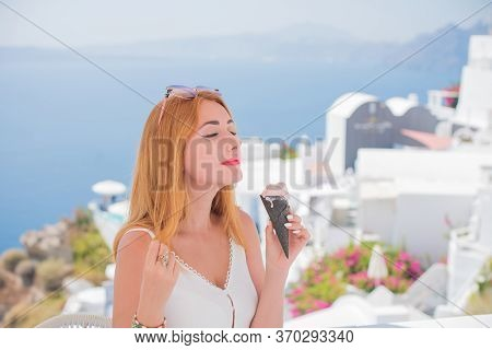 Woman In Trip, Picturesque View Of Traditional Santorini Streets, Location: Oia Village, Santorini,