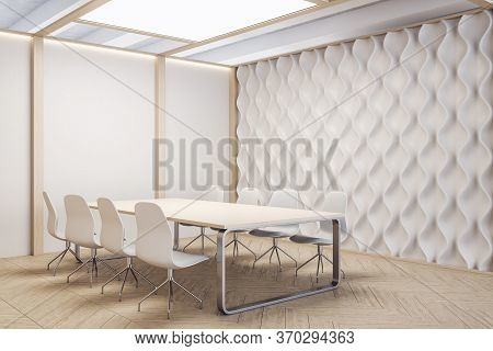 Contemporary Meeting Room With Furniture And Empty Decorative White Wall. Workplace And Company Conc