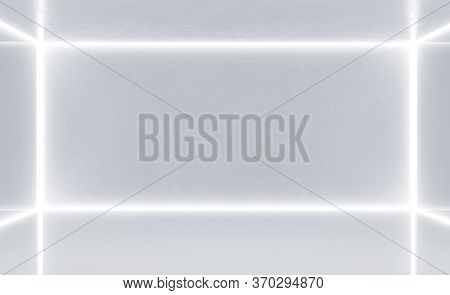 Minimalistic White Gallery Interior With Blank Wall. Gallery And Presentation Concept. Mock Up. 3d R