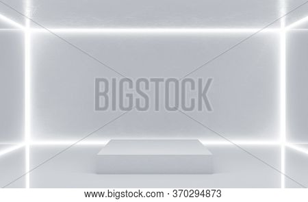 Clean White Gallery Interior With Blank Wall And Podium. Gallery And Presentation Concept. 3d Render