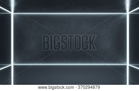 Minimalistic Gallery Interior With Blank Gray Concrete Wall. Gallery, Advertisement, Presentation Co