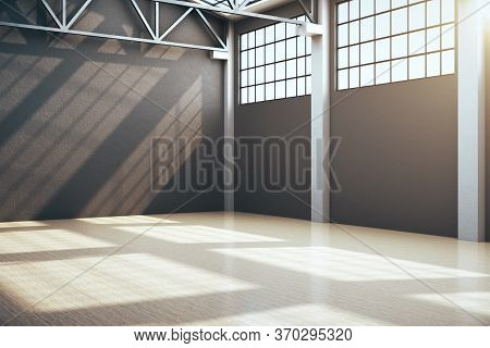 Contemporary Storehouse Interior With Window And Empty Wall. Industrial And Construction Concept. 3d