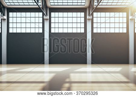 Minimalistic Storehouse Interior With Window And Empty Wall. Industrial And Construction Concept. 3d