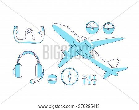 Aviation Items Turquoise Linear Objects Set. Airplane, Steering Wheel And Dashboard, Aviator Tools T