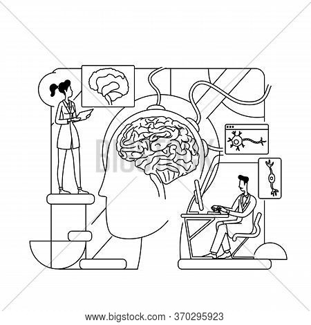 Neurological Research Thin Line Concept Vector Illustration. Science Workers, Neurologists 2d Cartoo