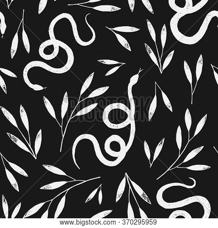 Seamless Pattern Vector Branches And The Snake Pencil Drawing, Vintage Style Graphic Texture