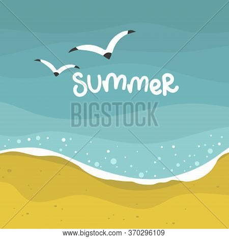 Summer Sea With Waves Background, Yellow Sand Beach, Vector Design Template, Illustration