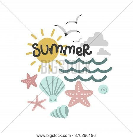 Summer Set, Sun And Seagulls, Mollusks And Starfish, Vector Design Template, Lettering Illustration