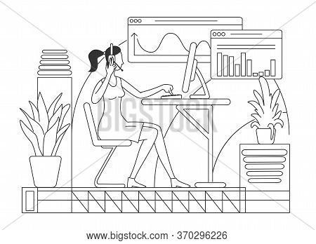Salesperson In Headset Thin Line Vector Illustration. Call Center, Telemarketing Company Female Work