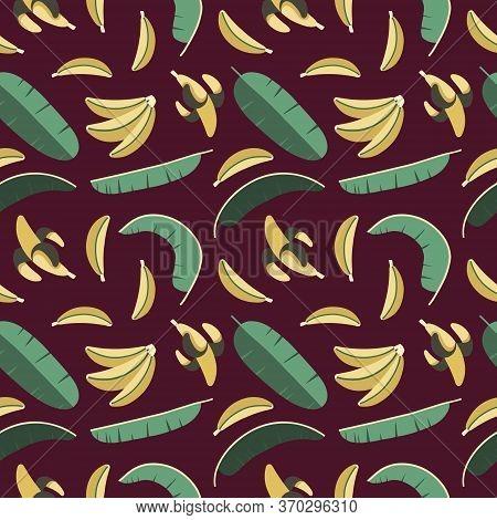 Summer Seamless Pattern, Bananas And Palm Trees, Vector Illustration