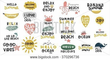 Set Of Stickers About Summer And Sea, Beach And Ocean, Beach Party, Lettering Hand Drawing Calligrap