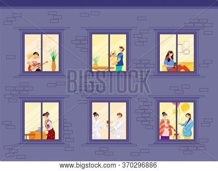 Evening Neighbors Routine Flat Color Vector Illustration. People Lifestyle Inside House Windows. Hob