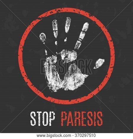 Conceptual Vector Illustration. Human Sickness. Stop Paresis.
