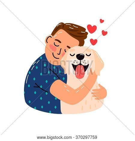 Boy Hug Dog. Young Man Hugging Puppy With Love, Cozy Relaxing Friendship Of Man And Pet, Sketch With