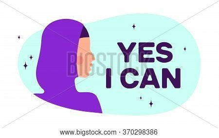 Yes I Can. Modern Flat Character. Silhouette Woman Speak Speech Bubble Text Yes I Can. Simple Charac