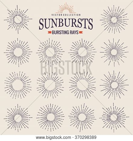 Sunbursts Collection Of Trendy Hand Drawn Retro Rays. Sunset, Sunrise And Radial Fireworks Symbol. D