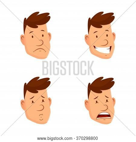 Man Face Expressions. Set Of Different Male Facial Emotions. Attractive Cartoon Character. Happy, Sa