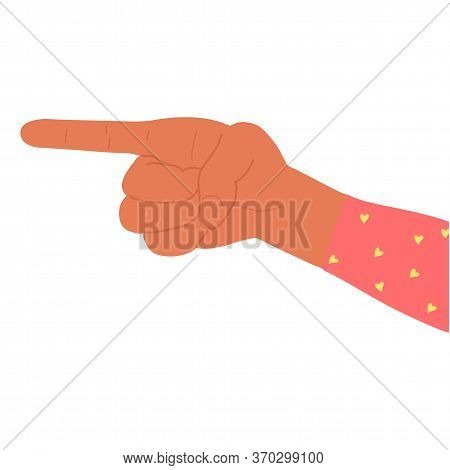 Vector Flat Style Pointing Fingers Hand Gesture. Afro American Dark Skin Color. Sign Show And To Spe
