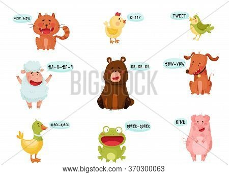 Cute Animals Emitting Sounds And Tooting Vector Set