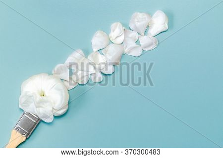 Paint Brush With Flower And Petals. Paintbrush Drawing With Petals On Azure Background. Fresh Flower