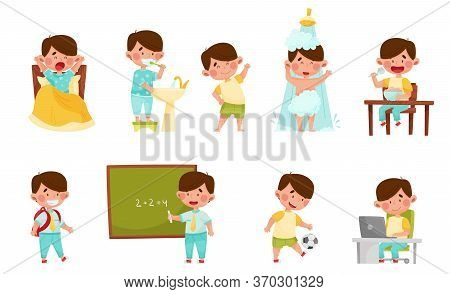 Cute Boy Character Waking Up, Brushing His Teeth And Doing Physical Exercises Vector Illustrations S
