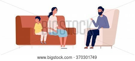 Family Therapy. Mother Son And Counselor. Psychotherapy, Children Behavior Problems Vector Illustrat