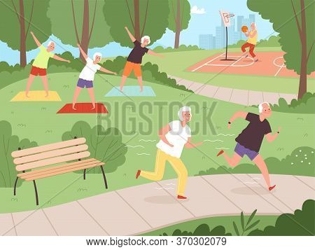 Elderly Park Activity. Older People Grandparents Walking In Urban Park Healthy Lifestyle Of Happy Se