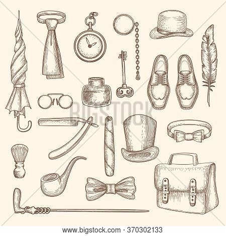 Gentleman. Drawing Clothes For Man Hat Whisky Cylinder Monocle Razor Vector Retro Fashioned Collecti