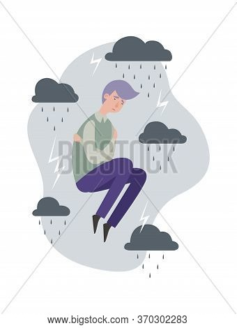 Depression Metaphor. Sad Man, Grey Clouds With Lightnings And Rain. Flat Mental Disorder Vector Conc