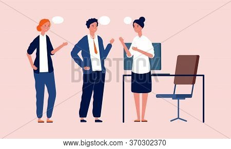 Office Managers Talking. Business Meeting, People Have Conversation. Teamwork, Cartoon Workers Vecto